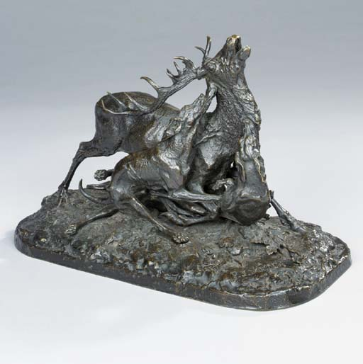 A French bronze group entitled 'Chasse au Cerf'