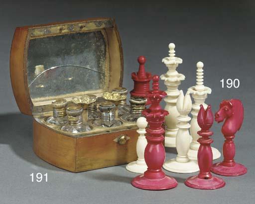 An English turned ivory chess set