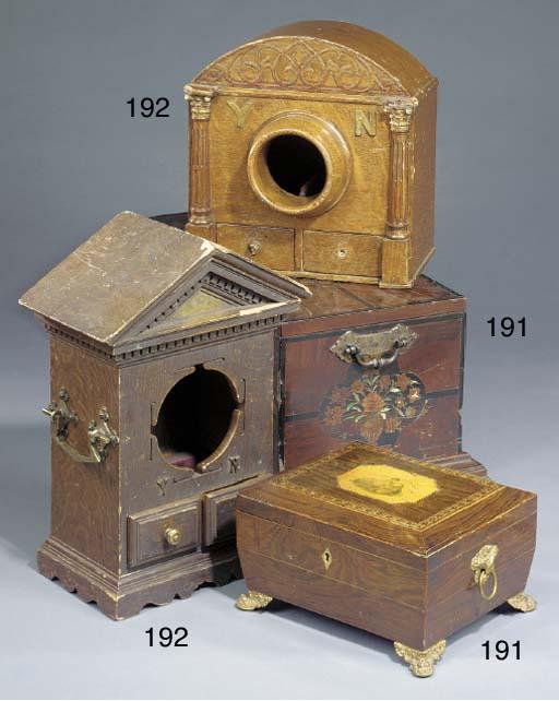 A Victorian Masonic lodge oak ballot box