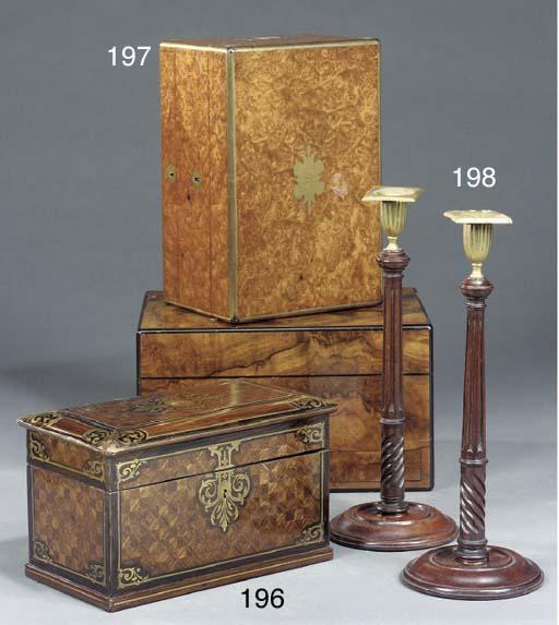 A Victorian burr walnut veneered jewellery box