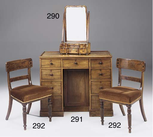 A SET OF FOUR LATE REGENCY MAHOGANY DINING CHAIRS