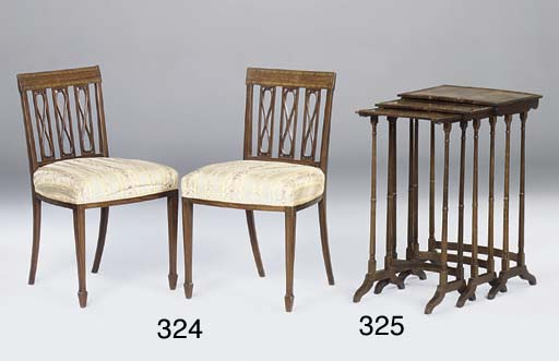 A nest of three rosewood occasional tables