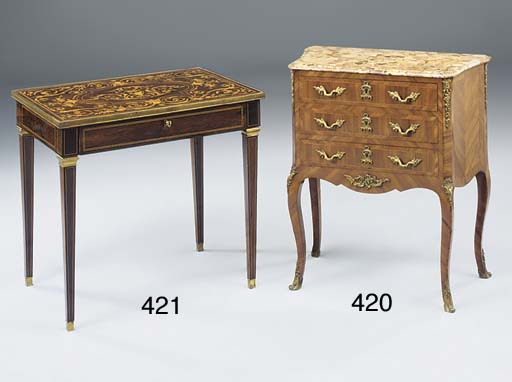 A French Kingwood and tulipwood banded petit commode