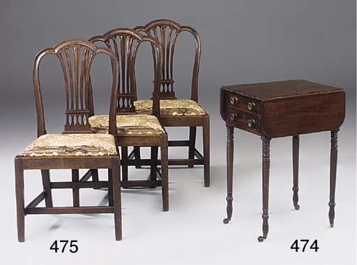 A set of three George III mahogany dining chairs
