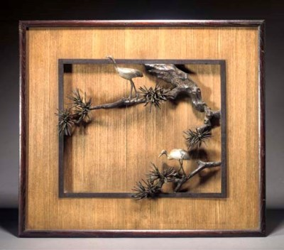 A Japanese wood panel with bro