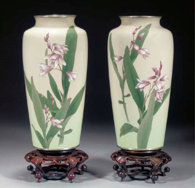 A pair of cloisonne vases Ando
