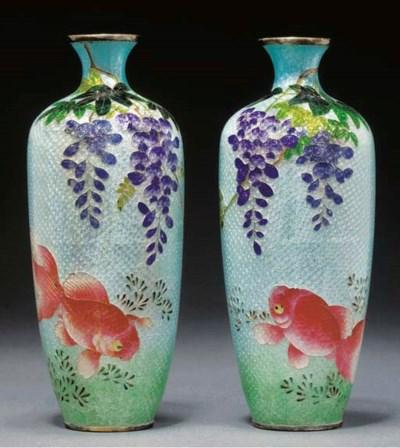 A pair of ginbari enamel vases