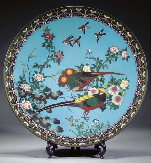 A very large cloisonne charger