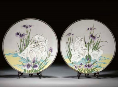 A pair of cloisonne chargers 1