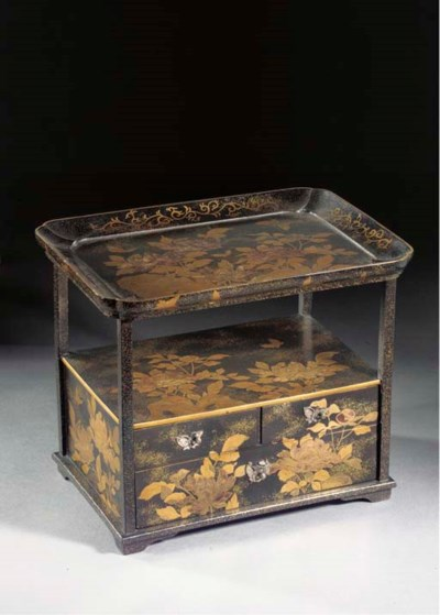 A lacquer table cabinet 19th C