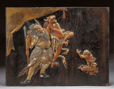 A lacquered wooden panel 19th