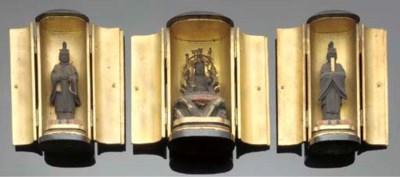 Three black lacquer zushi 18th