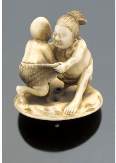An ivory netsuke of sumo-wrest