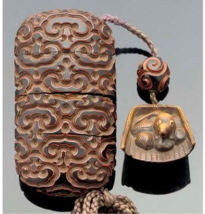 A guri-lacquer three-case inro