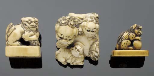 An ivory netsuke of a karashis