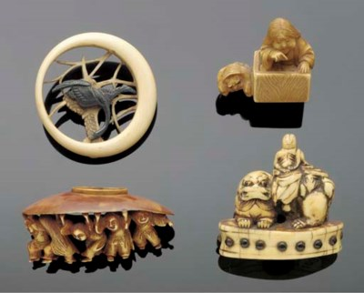 An ivory netsuke of an immorta