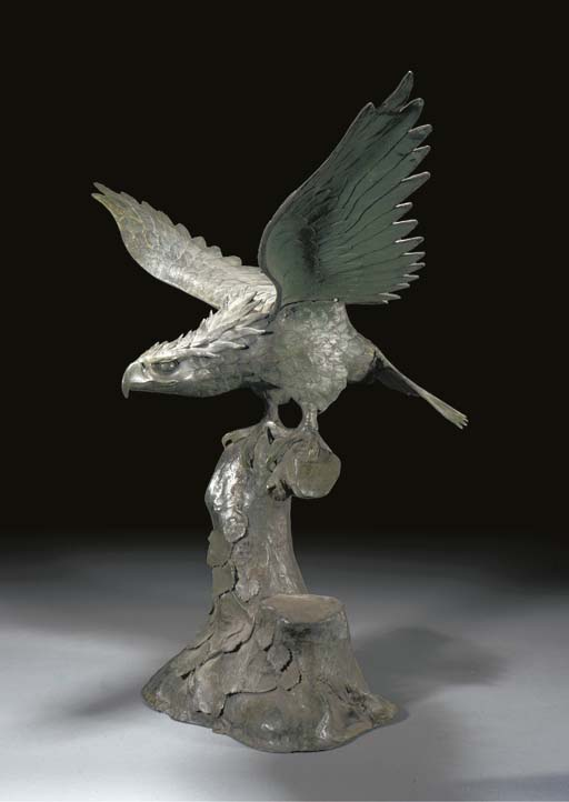 A large green patinated bronze