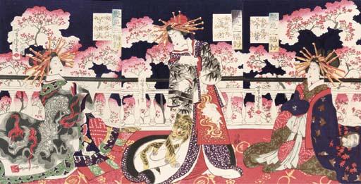 Yoshitora, an oban triptych