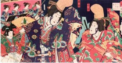 Kunichika, an oban triptych
