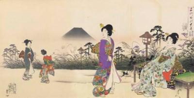 Chikanobu, four oban triptychs