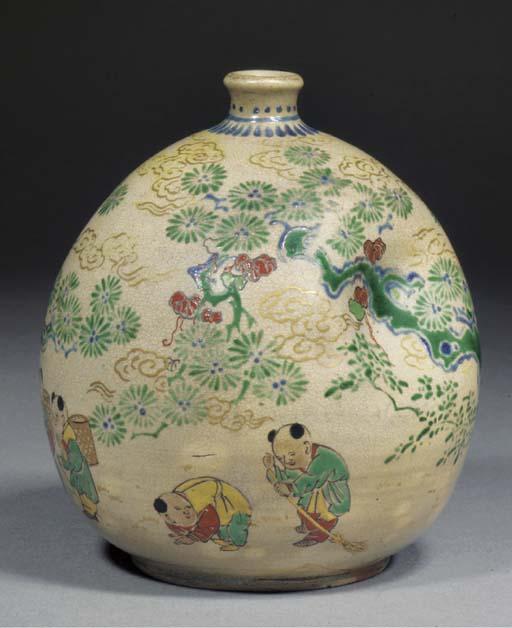 A globular pottery vase 19th c