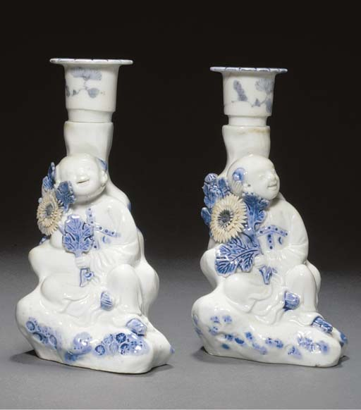 A pair of Hirado blue candle-s