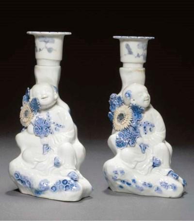 A pair of Hirado blue candle-s
