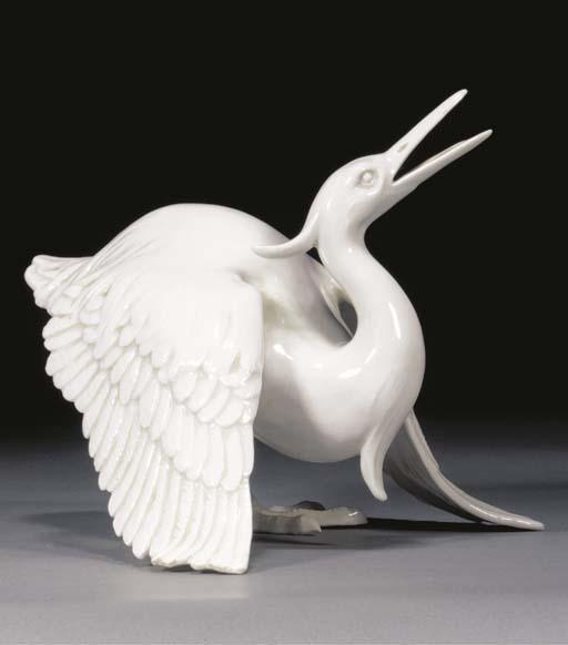 A HIrado white glazed model of