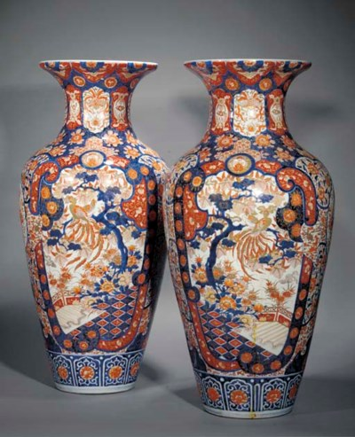 A large pair of Imari baluster