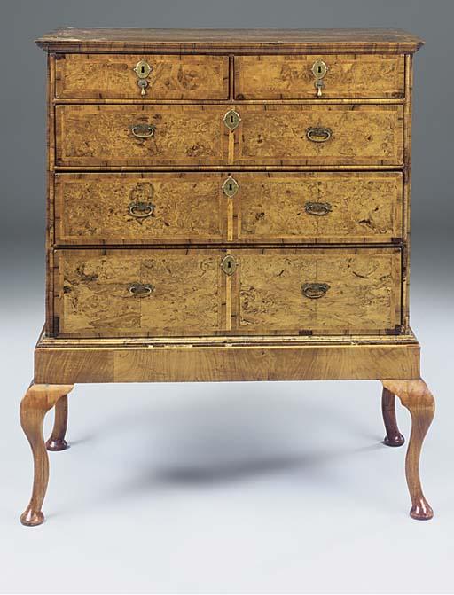 A George I walnut chest-on-sta