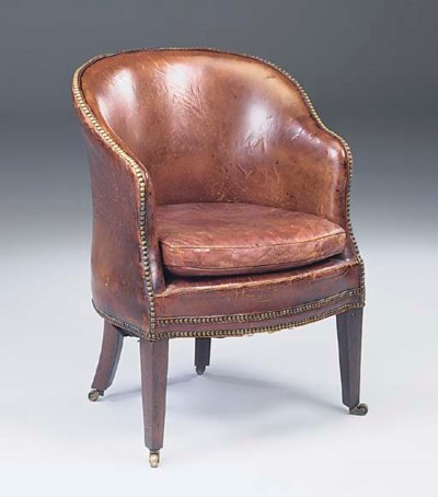 A GEORGE III MAHOGANY LEATHER