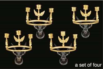 A set of four French gilt and