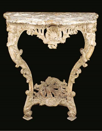 A FRENCH DECORATED MARBLE TOP