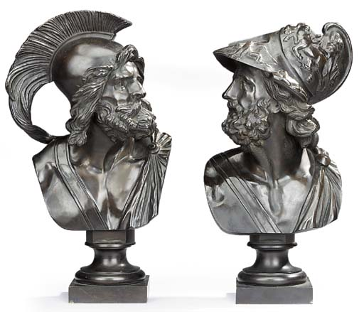 A pair of French bronze busts