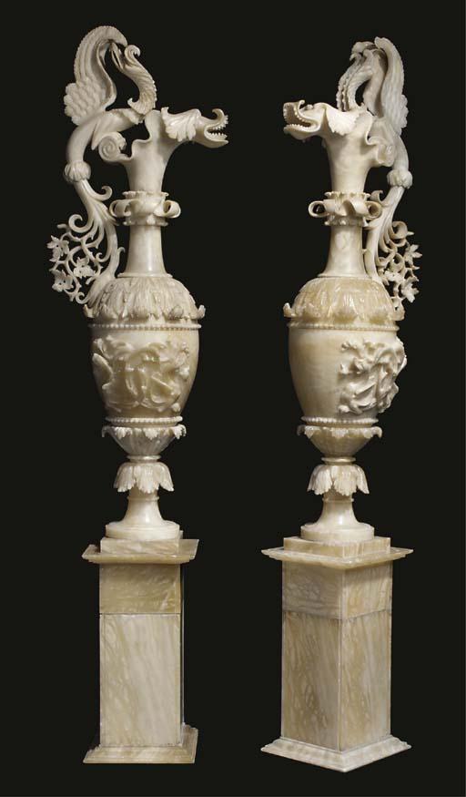 A pair of large Italian sculpt