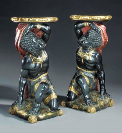 A pair of Italian painted and
