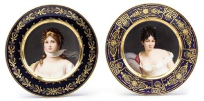 Two painted and gilt heightene