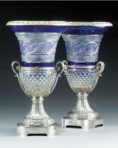 A pair of Austrian cut cobalt