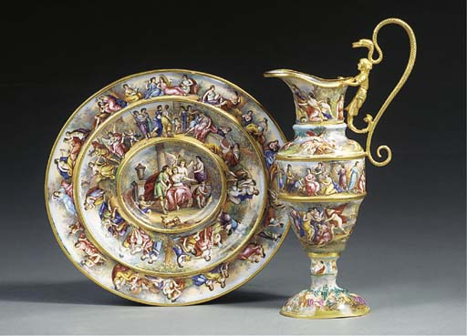 A Viennese enamelled and gilt
