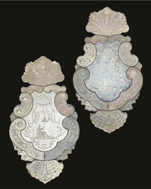 A PAIR OF VENETIAN ETCHED MARG