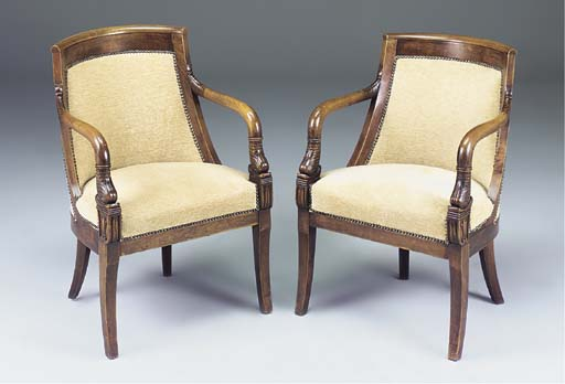 A PAIR OF FRENCH FRUITWOOD AND