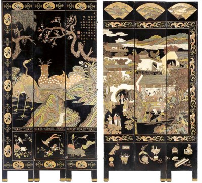 A Chinese lacquered, painted a