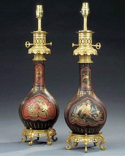 A pair of Oriental painted and