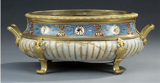A French gilt bronze, champlev