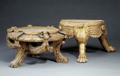 Two French carved and gilded w