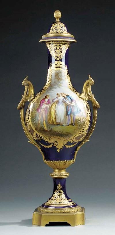 A gilt bronze mounted bleu de