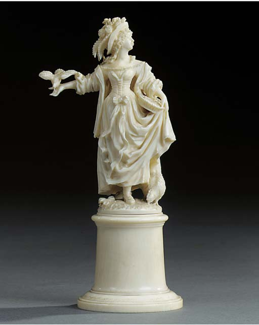 A German carved ivory model of