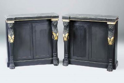 A PAIR OF EBONISED AND GILT MA