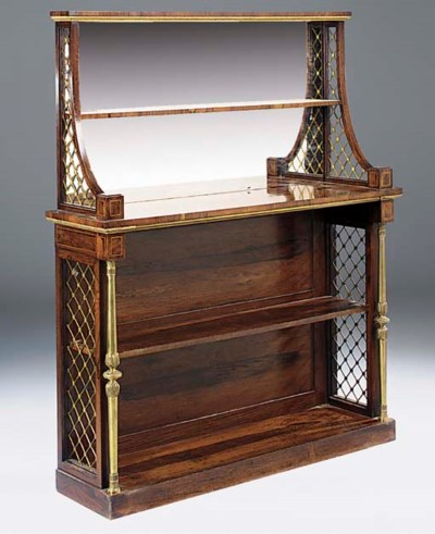 A REGENCY ROSEWOOD, SATINWOOD