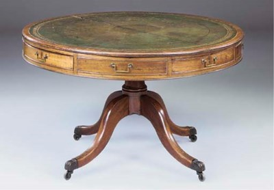 A GEORGE III MAHOGANY DRUM TOP